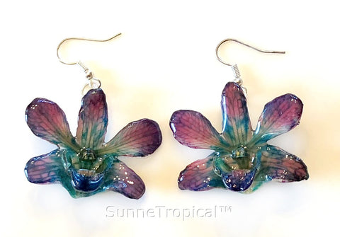 Dendrobium orchid real flower jewelry earring - Turquoise Purple