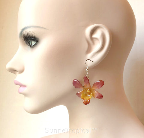 Dendrobium orchid real flower jewelry earring - Yellow Purple