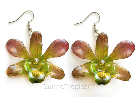 Dendrobium orchid real flower jewelry earring - Green Purple