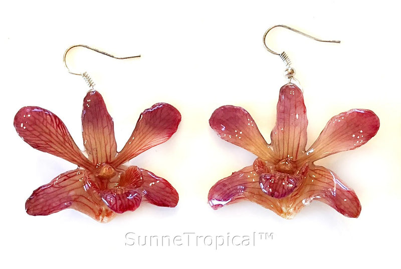 Dendrobium orchid real flower jewelry earring - NATURAL