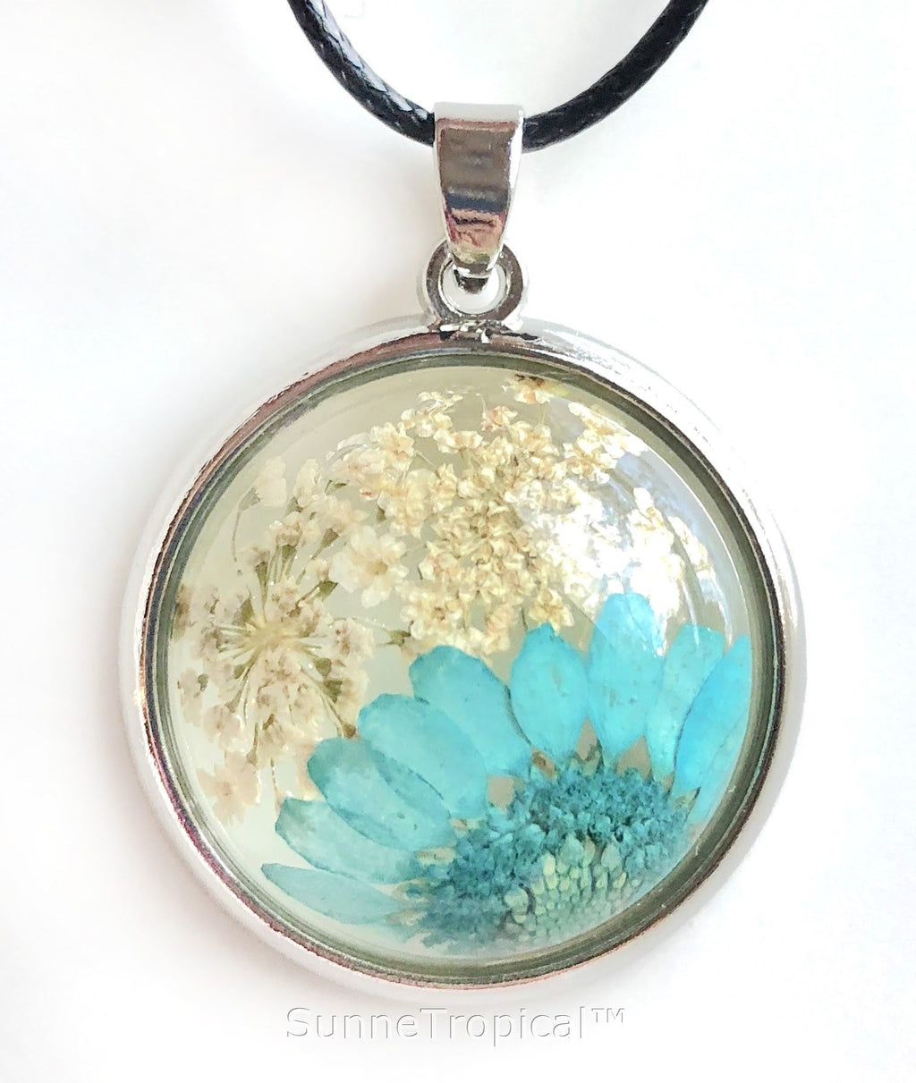 GOLD Plated Real flower jewelry EYE MUM & Lace Flower - TURQUOISE