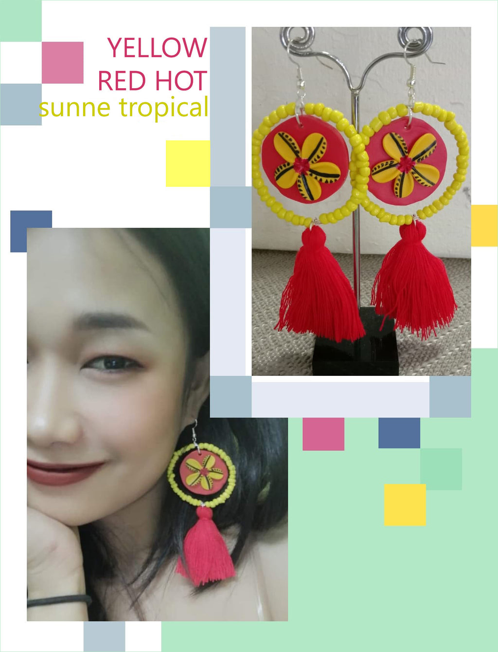 FIMO CLAY EARRING - Handmade Plumeria Tribal Tatoo BOHO Tassel YELLOW RED HOT