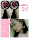 FIMO CLAY EARRING - Handmade Plumeria Tribal Tatoo BOHO Tassel PASSION BLACK & RED