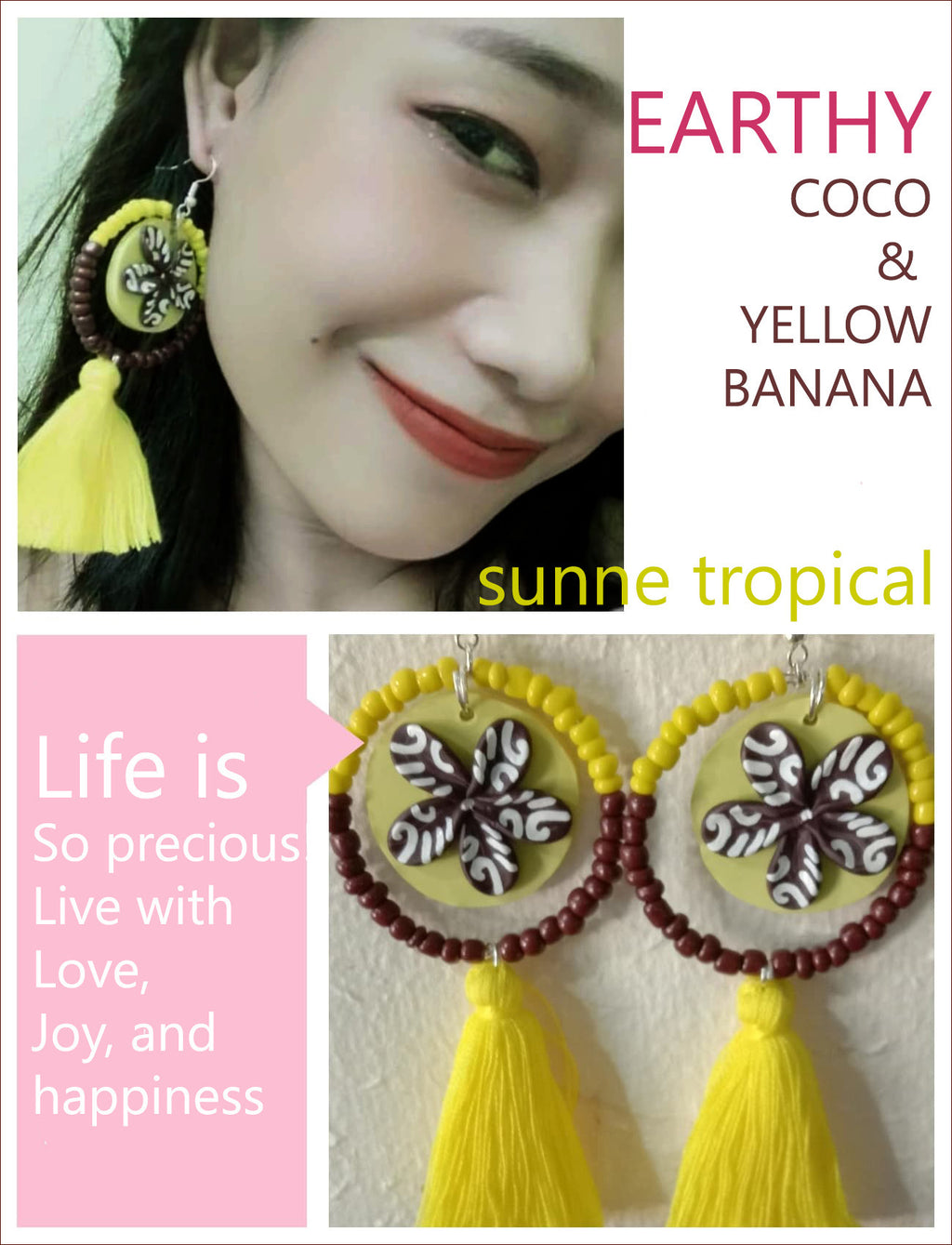 FIMO CLAY EARRING - Handmade Plumeria Tribal Tatoo BOHO Tassel EARTHY COCO & YELLOW BANANA