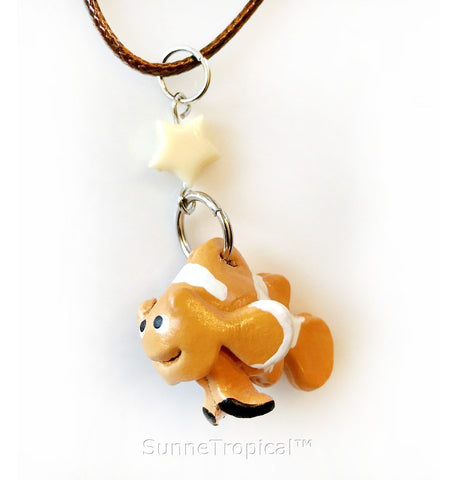 Leather handmade pendant necklace Clownfish