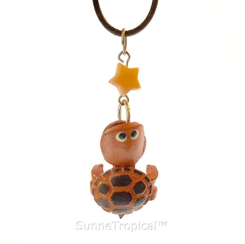 Leather handmade pendant necklace Funny Turtle
