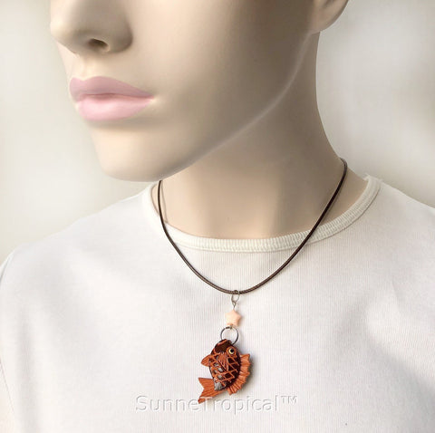 Leather handmade pendant necklace Love Fishing
