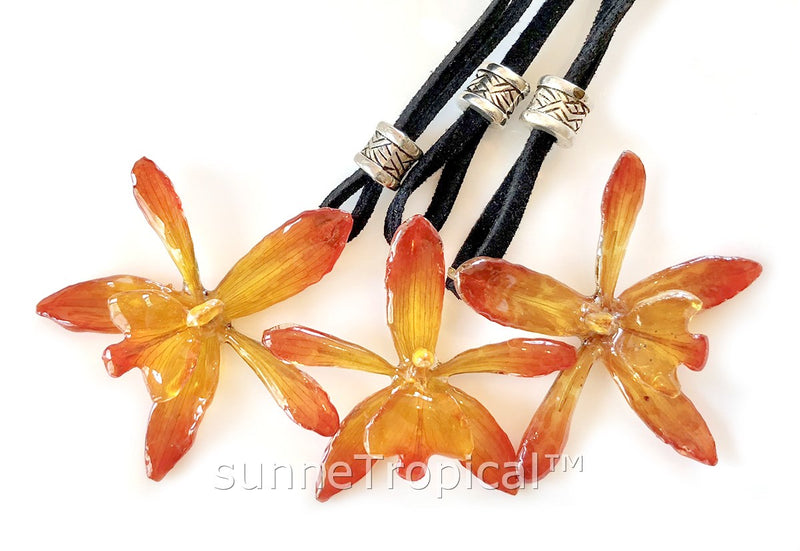STAR Grammatophyllum Orchid Real Flower Jewelry - Yellow