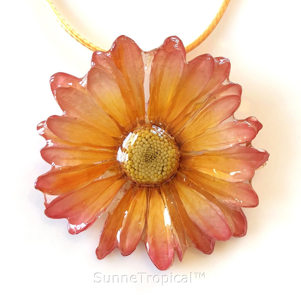 Daisy Mum Real Flower Jewelry Pendant Necklace Yellow Sunnetropical