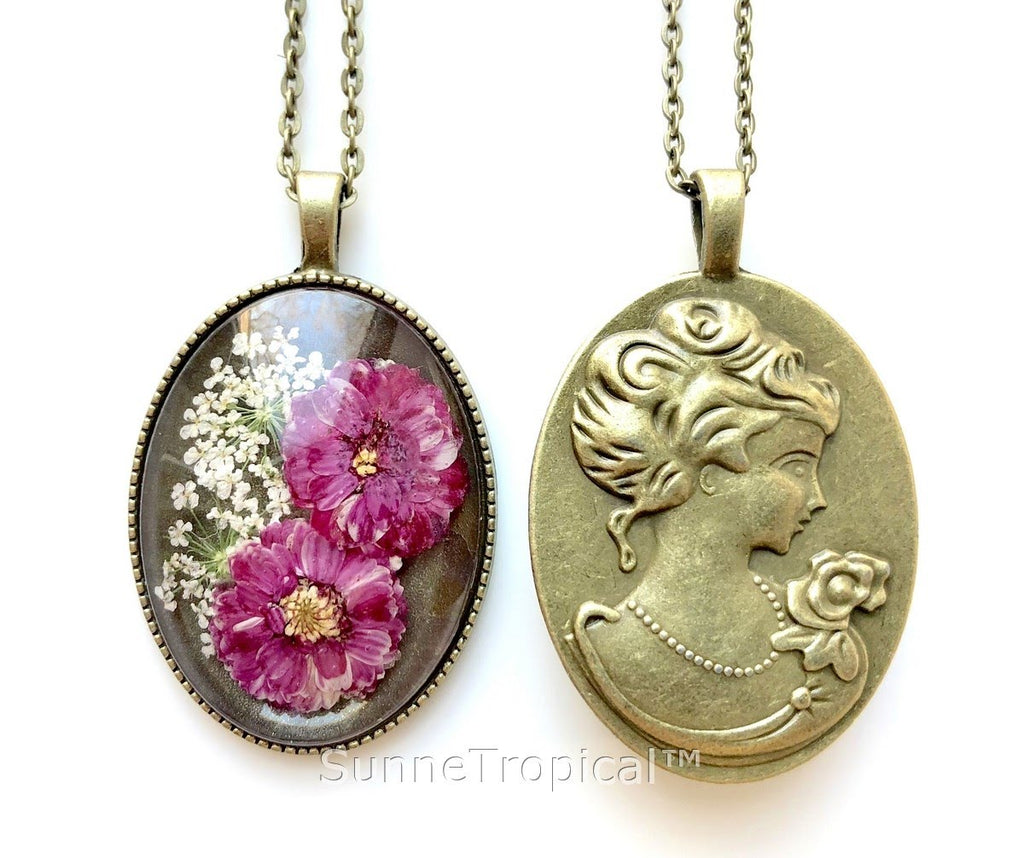 DAISY Real Pressed Flower Jewelry Vintage OVAL Pendant Necklace Antique Bronze Finish - FUCHSIA PURPLE
