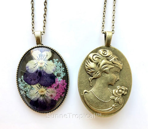 Real Pressed Flower Jewelry Vintage OVAL Pendant Necklace Antique Bronze Finish - PANSY & LACE FLOWER