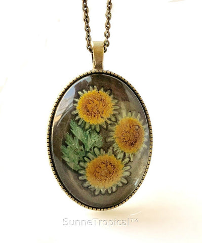 Real Pressed Flower Jewelry Vintage OVAL Pendant Necklace Antique Bronze Finish - YELLOW SUNFLOWER