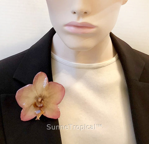 Phalaenopsis real orchid jewelry brooch (L) Pink