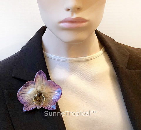 Phalaenopsis real orchid jewelry brooch (L) Purple