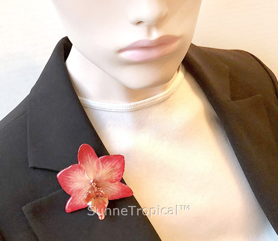 Phalaenopsis real orchid jewelry brooch (M) Red