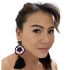 FIMO CLAY EARRING - Handmade Plumeria Tribal Tatoo BOHO Tassel SWEET PINK