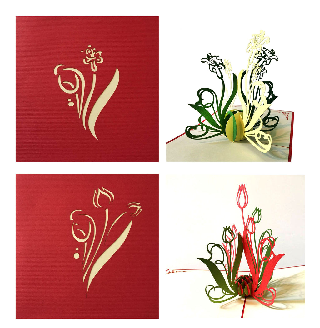 (4 Cards Pack) 3D Pop up Flower Card 4.75 inch - Birthday Greeting Flower for Mom- Mother's Day Card, Send Your Best – Tulip, Orchid Phalaenopsis, Bellflower