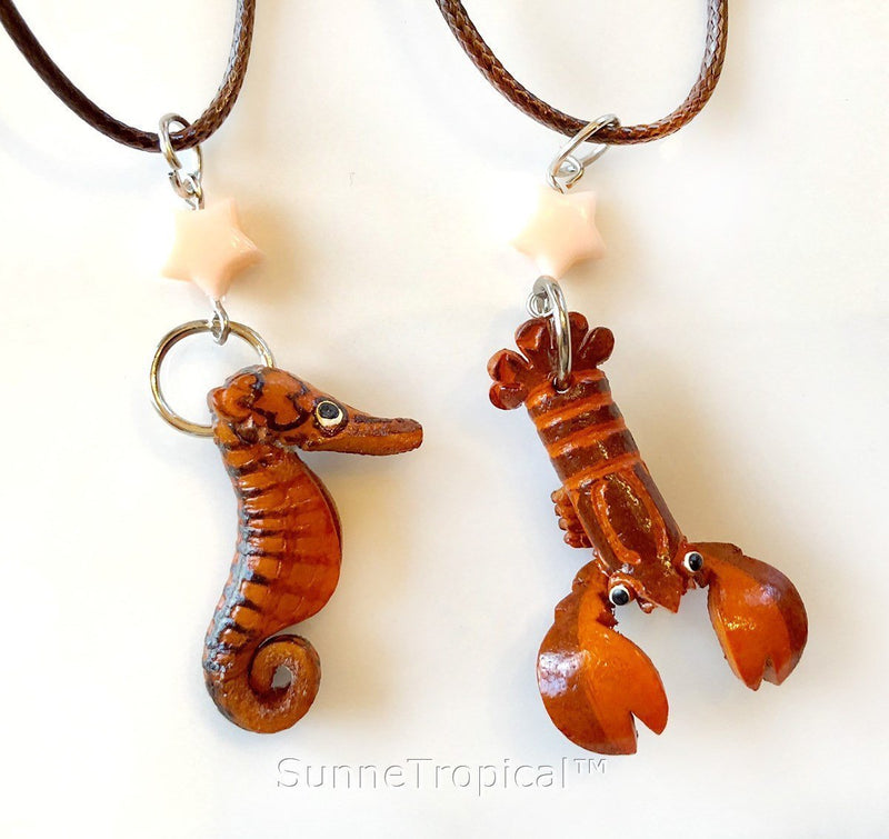 Leather handmade pendant necklace Red Crab & Lobster