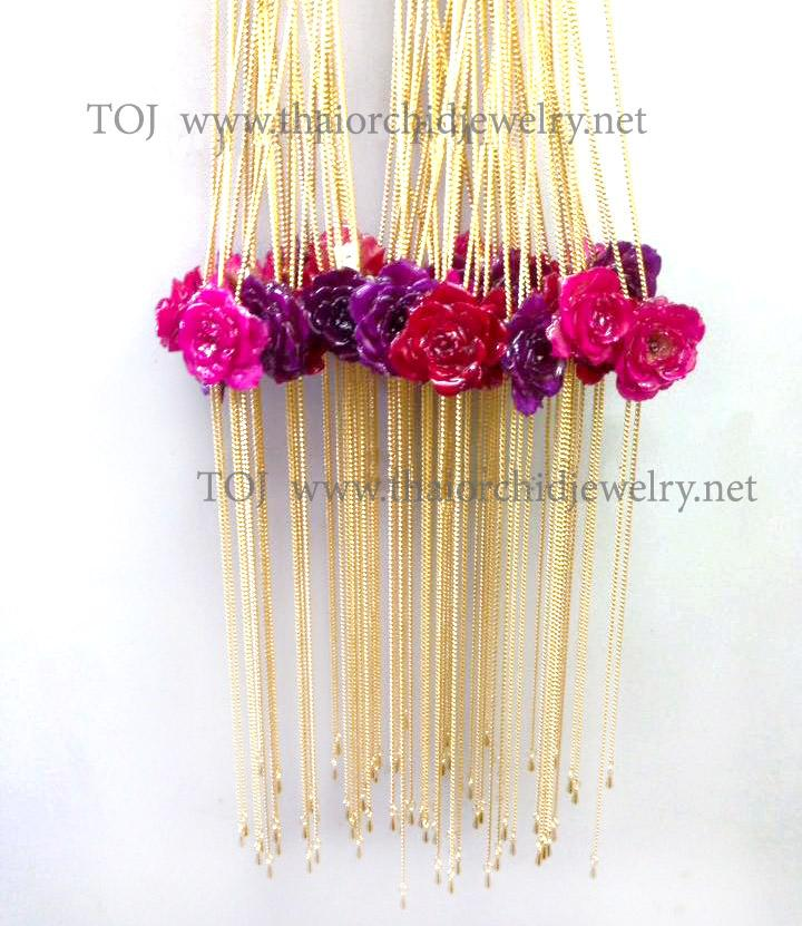 Off White TEA ROSE Real Flower Jewelry Slider Necklace Gold Plated 24K