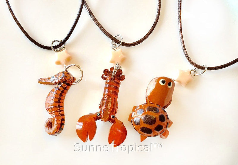 Leather handmade pendant necklace Seahorse
