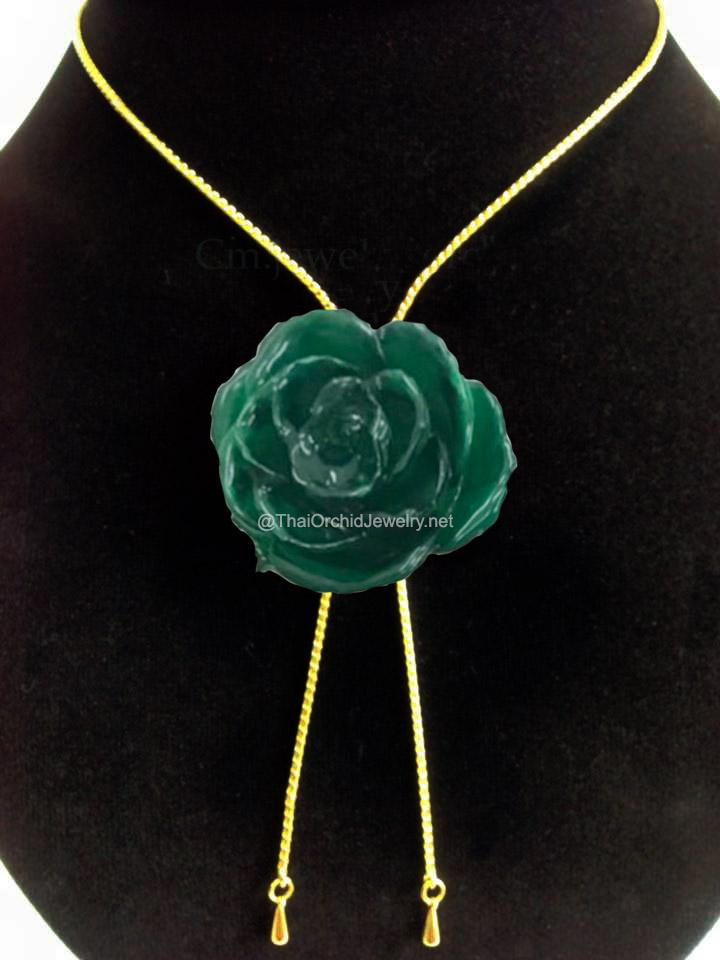 Green Real Flower Jewelry Slider Necklace Gold Plated 24K