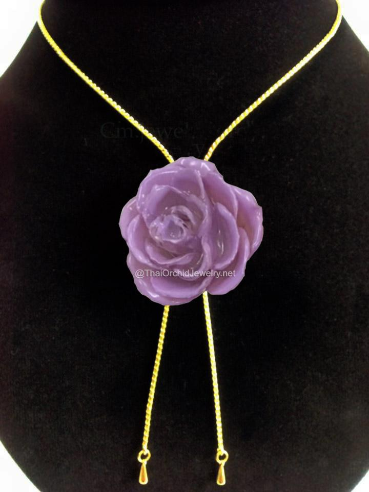 Purple LILAC TEA ROSE Real Flower Jewelry Slider Necklace Gold Plated 24K