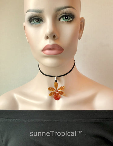 CHEETAH Odontocidium Tiger Orchid Real Flower Jewelry - Brown