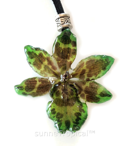 CHEETAH Odontocidium Tiger Orchid Real Flower Jewelry - Green