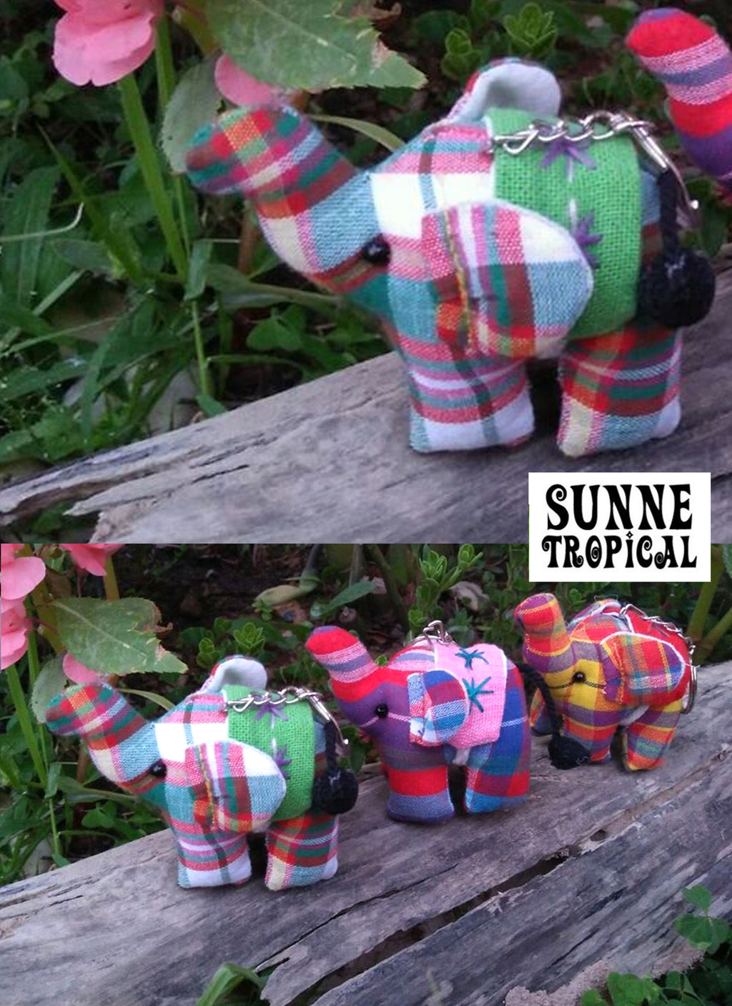 UPCYCLE Handmade Fabric Keychain ANIMAL Charm Key Rings Holder Bag Accessories Handmade Gift! so CUTE RANDOM COLOR (Pack of 4) - Elephant Natual Cotton PLAID