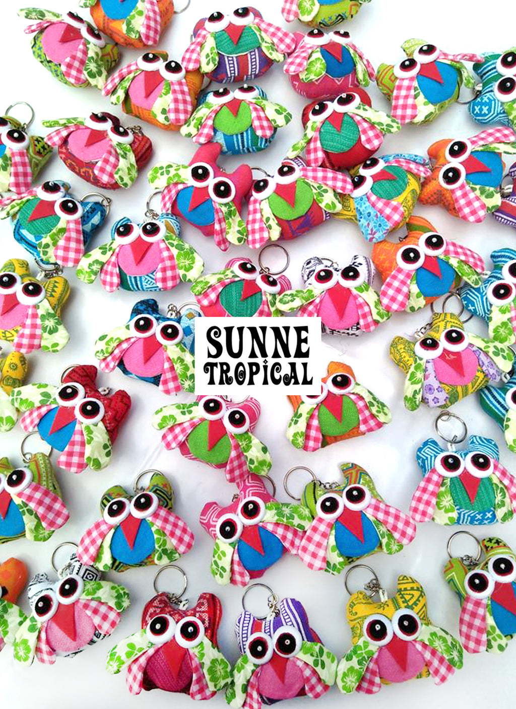 UPCYCLE Handmade Fabric Keychain ANIMAL Charm Key Rings Holder Bag Accessories Handmade Gift! so CUTE RANDOM COLOR (Pack of 4) - OWL
