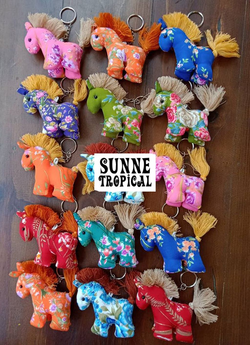 UPCYCLE Handmade Fabric Keychain ANIMAL Charm Key Rings Holder Bag Accessories Handmade Gift! so CUTE RANDOM COLOR (Pack of 4) - DONKEY & HORSE