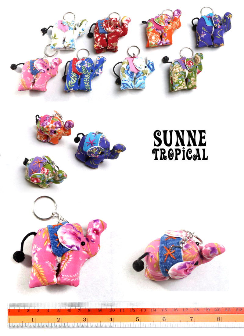 UPCYCLE Handmade Fabric Keychain ANIMAL Charm Key Rings Holder Bag Accessories Handmade Gift! so CUTE RANDOM COLOR (Pack of 4) - Flower Elephant