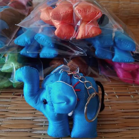 UPCYCLE Handmade Fabric Keychain ANIMAL Charm Key Rings Holder Bag Accessories Handmade Gift! so CUTE RANDOM COLOR (Pack of 4) - SILK Elephant