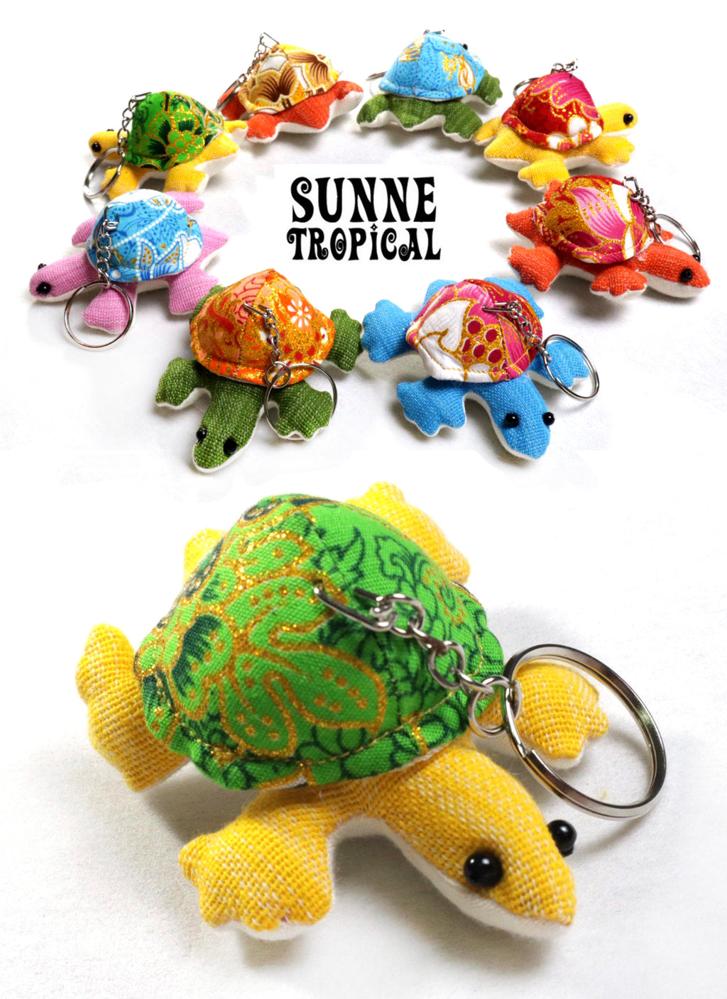 UPCYCLE Handmade Fabric Keychain ANIMAL Charm Key Rings Holder Bag Accessories Handmade Gift! so CUTE RANDOM COLOR (Pack of 4) - TORTOISE & TURTLE