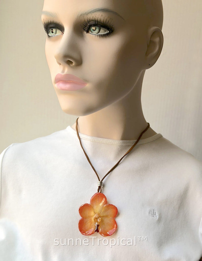 Real Flower Jewelry VANDA orchid - YELLOW orange