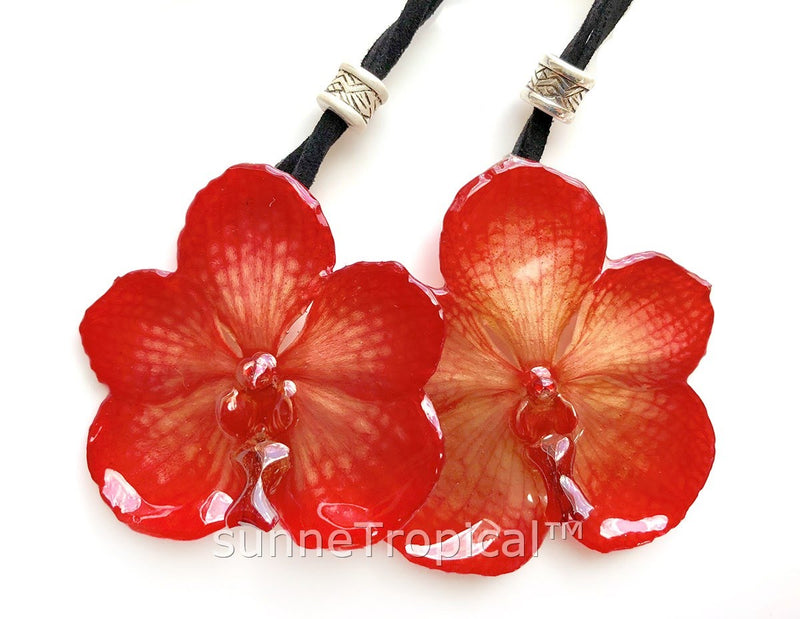 Real Flower Jewelry VANDA orchid - RED