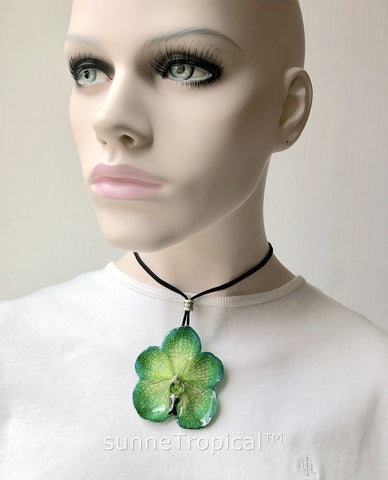 Real Flower Jewelry VANDA orchid - GREEN