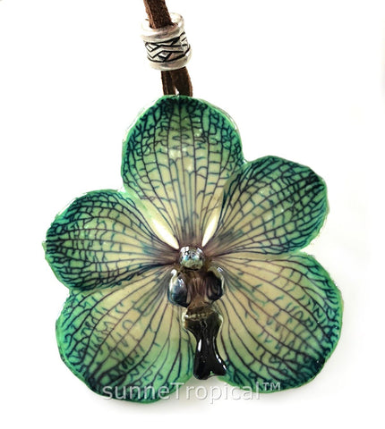 Real Flower Jewelry VANDA orchid - Green EMERALD