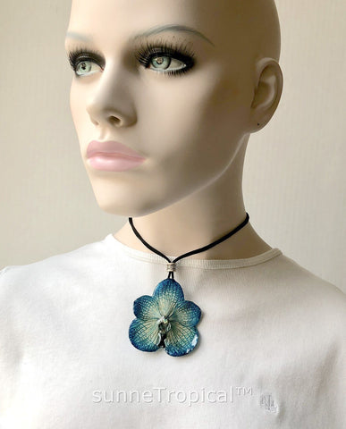 Real Flower Jewelry VANDA orchid - NAVY blue