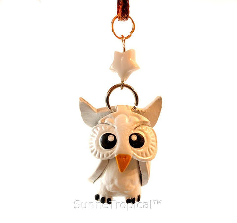 Leather handmade pendant necklace White OWL