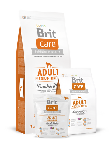 Hrana uscata pentru caini Brit Care, Adult, Medium Breed, Miel si Orez,12 kg - Happy Tail