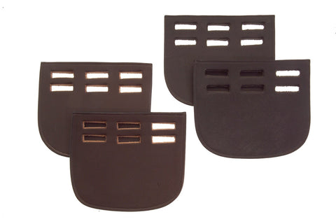 Heritage English Leather Girth Buckle Guards - Three Slot