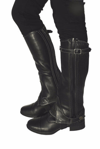 Rhinegold 'Elite' Top Strap Leather Gaiters black