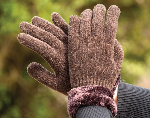 Harlequin Chenille Gloves With Cuff brown
