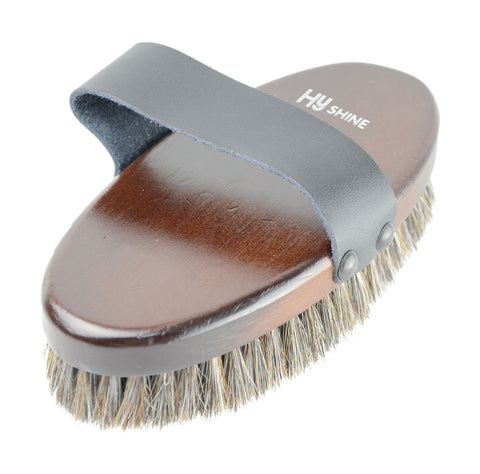 HySHINE Deluxe Horse Hair Wooden Body Brush large