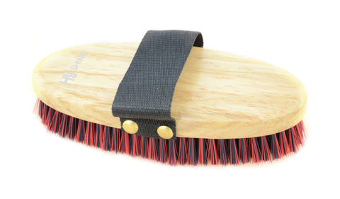HySHINE Natural Wooden Body Brush Navy/Red