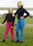 Rhinegold Children's Essential Jodhpurs raspberry and turquoise