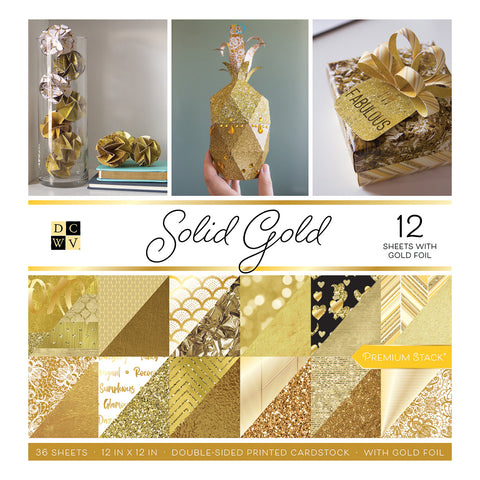 "DCWV 12"" x 12"" Solid Gold Double-Sided Premium Paper Stack - Terryfic Shop"