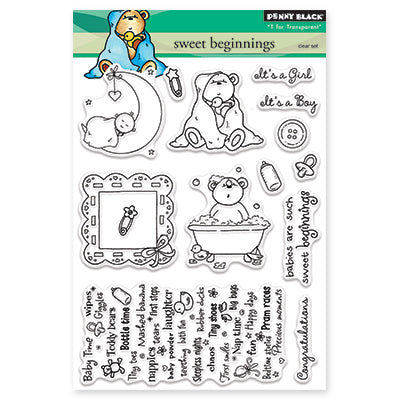 Penny Black Sweet Beginnings Clear Stamp Set - Terryfic Shop