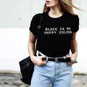 Black Is My Happy Colour T-Shirt - T-Shirt - Rebel Style Shop